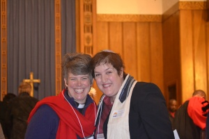 Rev. Rebecca Voelkel and I before the service starts